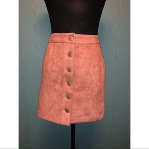 Salmon suede material high waisted skirt!